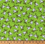 Cotton Sloths Cute Sloth Jungle Animals Wildlife Nature Dots on Green Two by Two Kids Cotton Fabric Print by the Yard (4569-66)