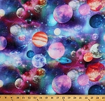 Cotton Planets Stars Outer Space Galaxy Galaxies Nebulas Astronomy Jupiter Mars Interstellar Nature Multi-Color Cotton Fabric Print by the Yard (51006-X)