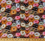 Cotton Donuts Doughnuts Sprinkles Bakery Sweets Treats Desserts Food One of a Kind Cotton Fabric Print by the Yard (50911-X)