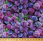 Cotton Hydrangeas Flowers Purple Pink Floral Spring Garden One of a Kind Cotton Fabric Print by the Yard (50907-X)