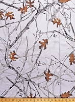 Satin True Timber Conceal Snow Camo Bridal White Snow Branches Leaves Camouflage Satin Fabric Print by the Yard (PP1008-593-CONCEAL)