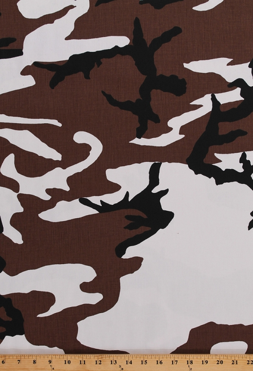 Camouflage Snow Camo Winter Cotton Blend Fabric Print By