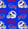 Fleece Buffalo Bills on Blue with White Helmets NFL Football Sports Team Fleece Fabric Print by the Yard (s6376df)