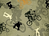 Cotton Bikes Skateboards Bikers Skateboarders Sage Green Extreme Sports Cotton Fabric Print by the Yard (1649-45793-H)