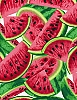 Cotton Watermelon Slices Watermelons Farmer's Market Fresh Fruits Fruit Food Gardening Kitchen Cotton Fabric Print by the Yard (fruit-c1137-multi)