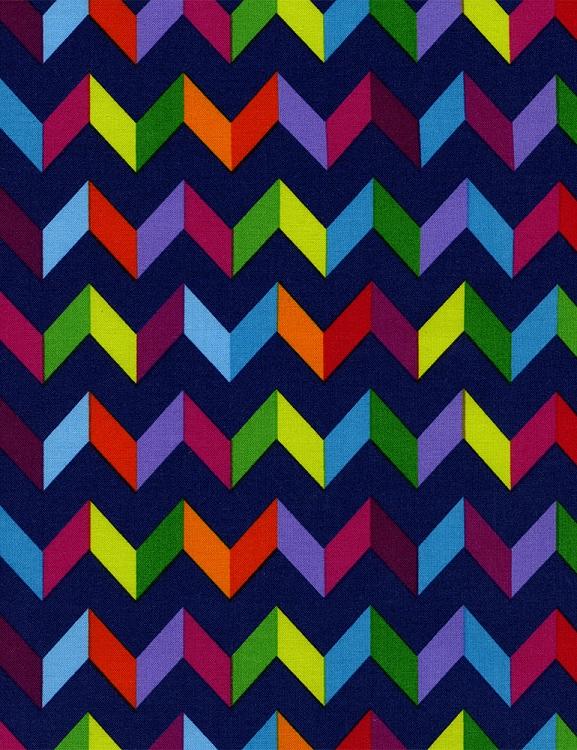Cotton Fiesta Chevron Striped Zigzag Navy Blue Rainbow