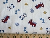 Medical Firetrucks on White Scrub Cotton Blend Knit Fabric Print (3165F-3J)