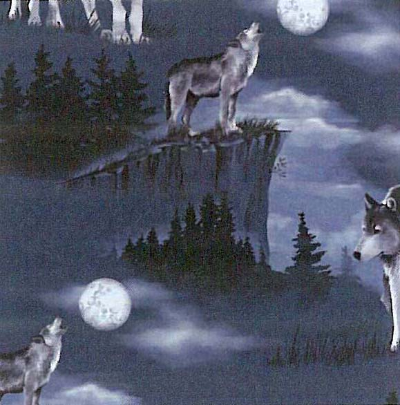 Baying at the moon wolves wolf fleece fabric print by for Moon fleece fabric