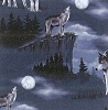 Baying at the Moon - Wolves Wolf Fleece Fabric Print by the Yard a27914b