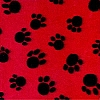 VelvaFleece Paws - Red background Fleece Fabric Print by the Yard k1406-2b