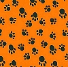 VelvaFleece Paws - Orange background Fleece Fabric Print o1406-3b