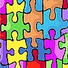 Jigsaw Puzzle Fleece Fabric Print by the Yard k23973b