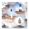 Fleece (not for masks) Lighthouses Fleece Fabric Print by the yard (o31773b)