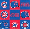 Fleece (not for masks) Chicago Cubs Square MLB Baseball Sports Team Fleece Fabric Print by the yard