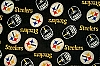 Fleece Pittsburgh Steelers on Black NFL Pro Football Sports Team Fleece Fabric Print by the yard (s6320df)