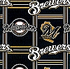Fleece (not for masks) Milwaukee Brewers MLB Pro Baseball Team Fleece Fabric Print by the yard