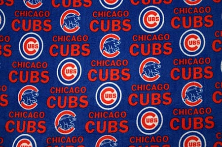 chicago cubs blue mlb baseball fleece fabric print