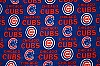 Fleece (not for masks) Chicago Cubs Blue MLB Baseball Fleece Fabric Print by the yard
