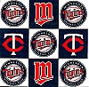 Fleece (not for masks) Minnesota Twins Square MLB Baseball Fleece Fabric Print by the yard