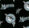 Fleece (not for masks) Florida Marlins (Old Team Logo and Name) MLB Baseball Fleece Fabric Print by the yard