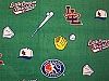 Little League Baseball - Green Fleece Fabric Print by the Yard (sllb005s)