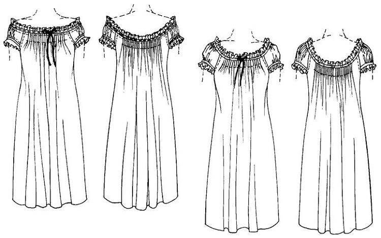 Folkwear A Ladys Chemise Nightgown Nightdress Nighty 223 Sewing
