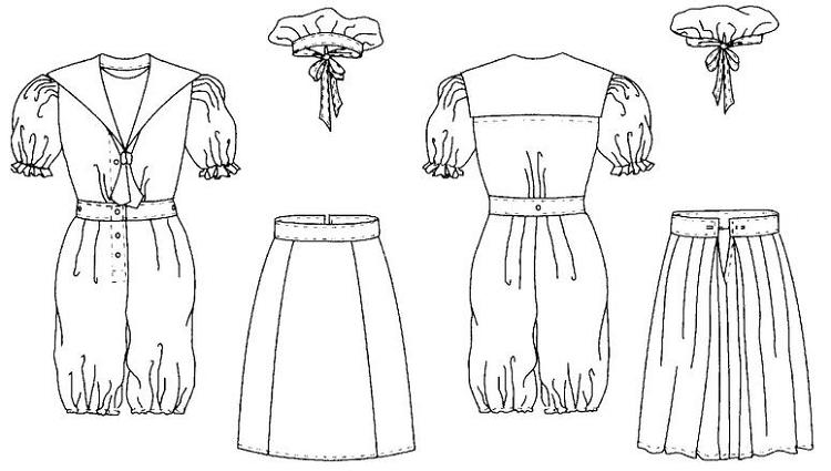 Folkwear #253 Vintage Bathing Costume Swimming Swim Suit Romper ...