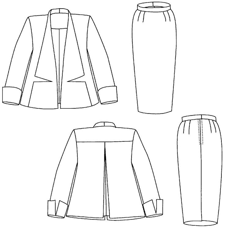 Folkwear Swing Suit #255 Trapeze jacket Pencil Skirt Sewing Pattern (Pattern Only) folkwear255