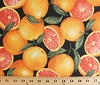 Cotton Grapefruit Citrus Fruits Summer Food Fresh Slices Sliced Grapefruits Allover on Black Kitchen Cotton Fabric Print by the Yard (food-c9486)