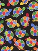 Cotton Cute Turtles Reptiles Tortoise Animals Wildlife Nature Multi-Color Colorful Rainbow Jamboree Kids Cotton Fabric Print by the Yard (FUN-C2101-Black)