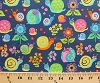 Cotton Cute Snails with Glasses Hats Mollusks Shells Flowers Plants Multi-Colored Animals on Navy Blue Children's Kids Organic Cotton Fabric Print by the Yard (fun-oc2958)