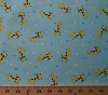 Nursery Baby Giraffes & Stars on Blue Cotton Flannel Fabric Print  (140-24021)