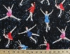 Cotton Figure Skating Girl Skaters Winter Sport Black Cotton Fabric Print by the Yard (gm-c-1996)