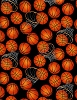 Cotton Basketballs Hoops Allover on Black Cotton Fabric Print by the yard (gm-c5814-black)