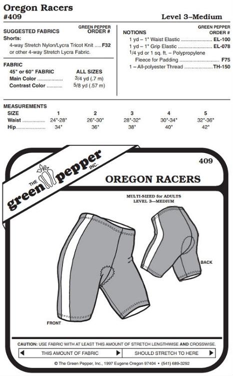 Oregon Biking Riding Bicycle Shorts #409 Sewing Pattern (Pattern Only)