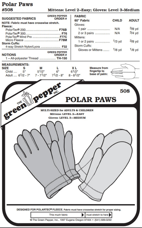 Polar Paws #508 For Adults and Children Gloves Mittens Sewing ...