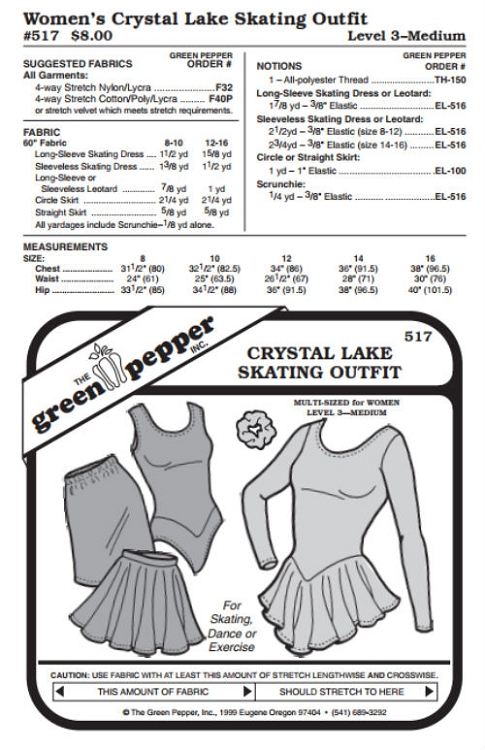 Women\'s Crystal Lake Skating Dance Exercise Outfit #517 Sewing ...