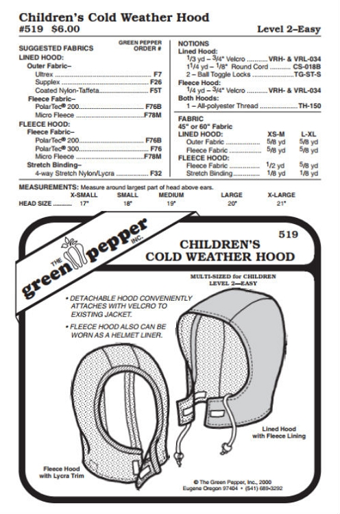 Kids Cold Weather Hood Hat Headgear #519 Sewing Pattern (Pattern Only)