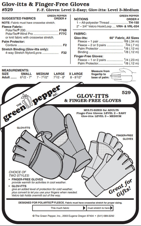 Glov-itts & Finger-free Gloves #529 For Adults Fingerless Gloves ...
