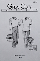 Great Copy 2425 Capris and Tees Capri Pants and T-Shirt Sewing Pattern (Pattern Only)