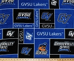 Fleece (not for masks) Grand Valley State University Lakers GVSU College Fleece Fabric Print by the yard - Royal Blue