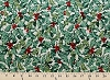 Holly Hollies Evergreen Christmas Cotton Fabric Print