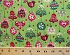 Cotton Christmas Ornaments Bells Gingerbread Houses Birds Christmas Trees Stars Winter Holidays Festive Decorations Evergreen Mistletoe Pearl Green Cotton Fabric Print by the Yard (j9219-129)