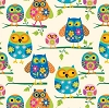 Owl Colorful Mom Baby Babies Owls Kids Birds Bird Fleece Fabric Print by the Yard k34306b