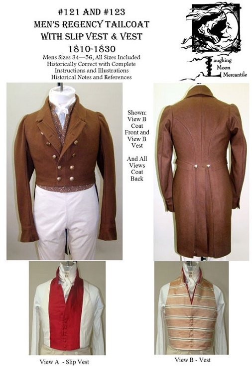 Men\'s Regency Tailcoat Dress Coat Slip Vest 1810-1830 Sewing Pattern ...