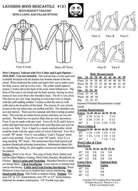 Men\'s Regency Tailcoat Dress Coat Jacket c. 1810-1830 Sewing Pattern ...
