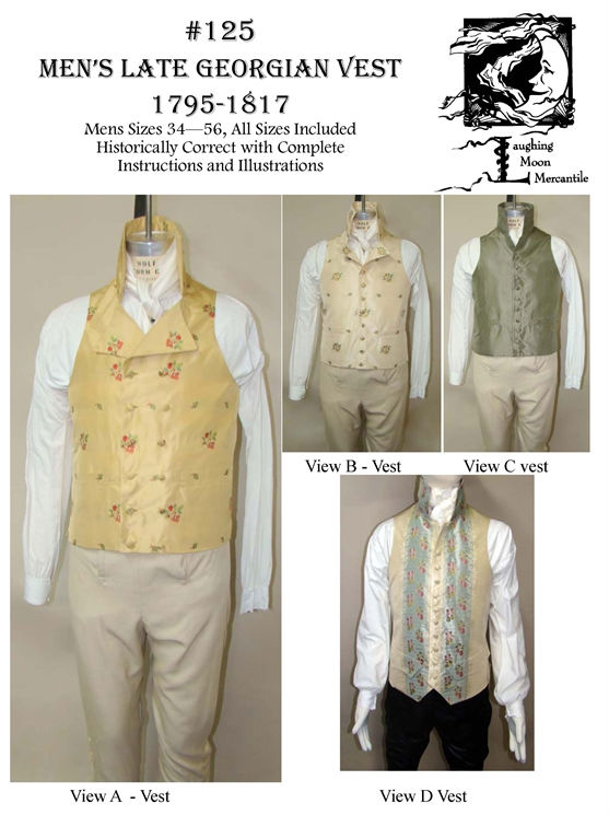 Men\'s Late-Georgian Vest Waistcoat 1795-1817 Sewing Pattern #125 ...