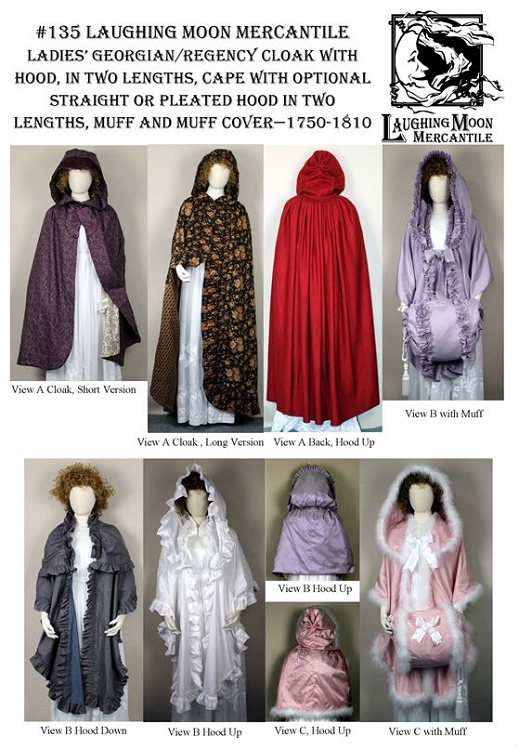 Ladies Late Georgian Regency Cloak with Hood Cape Muff & Muff Cover ...