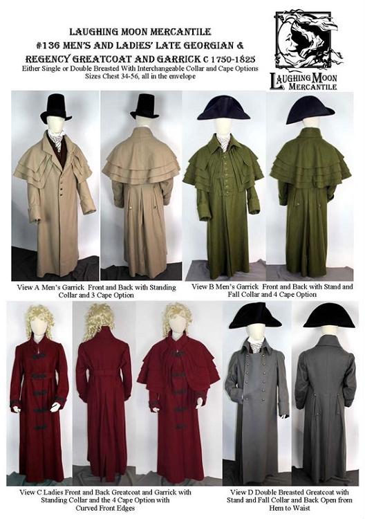 Men\'s and Ladies\' Late Georgian & Regency Greatcoat Garrick Overcoat ...