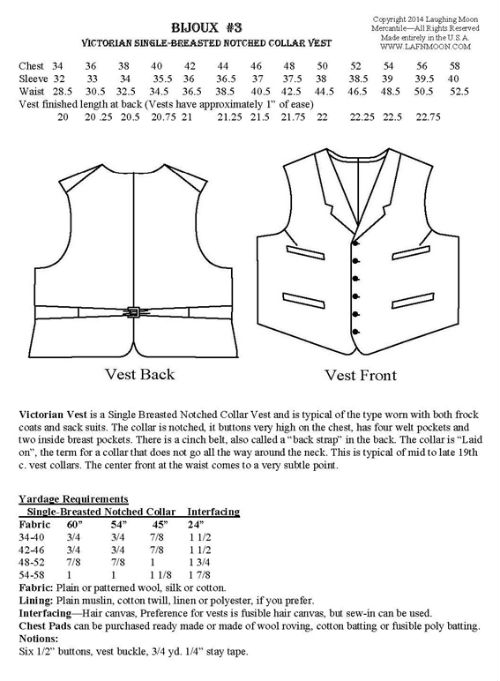 Men\'s Single Breasted Notched Collar Vest 1870-1915 Sewing Pattern ...